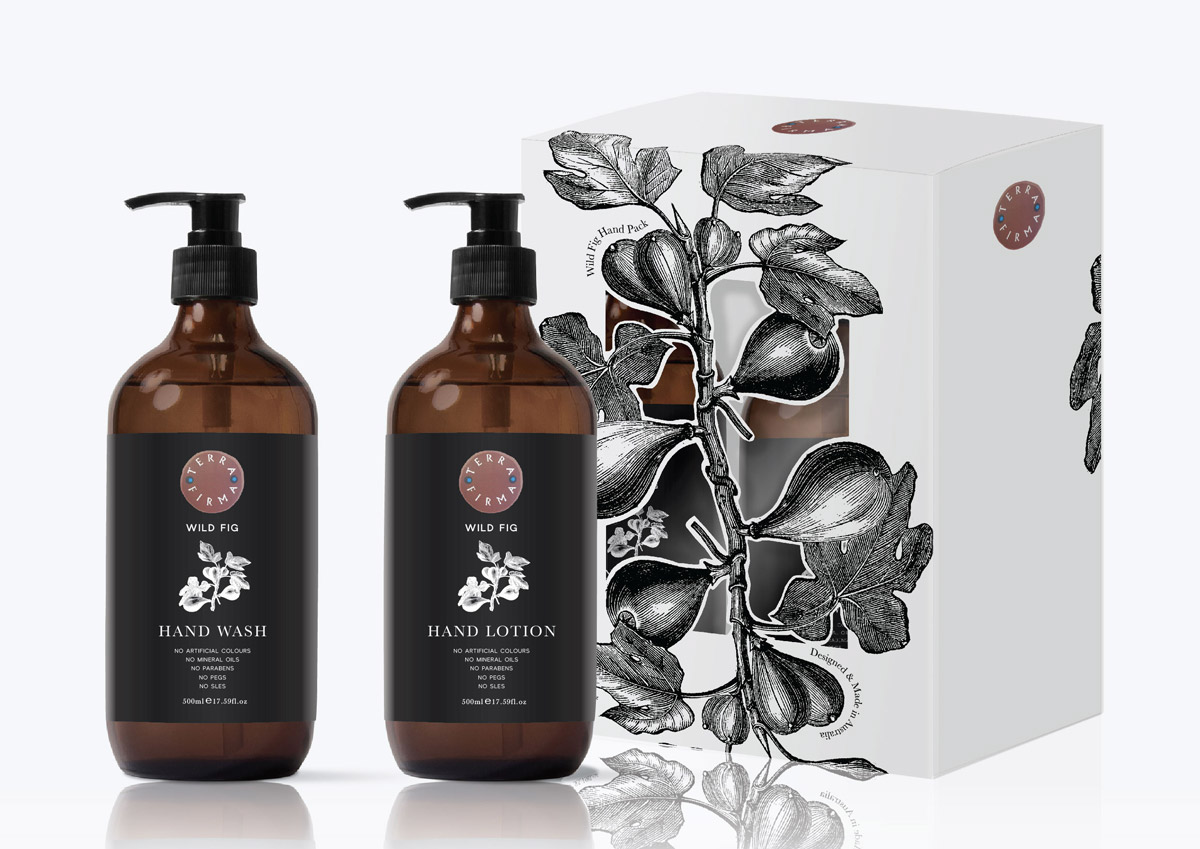 Hand wash & lotion label and packaging design