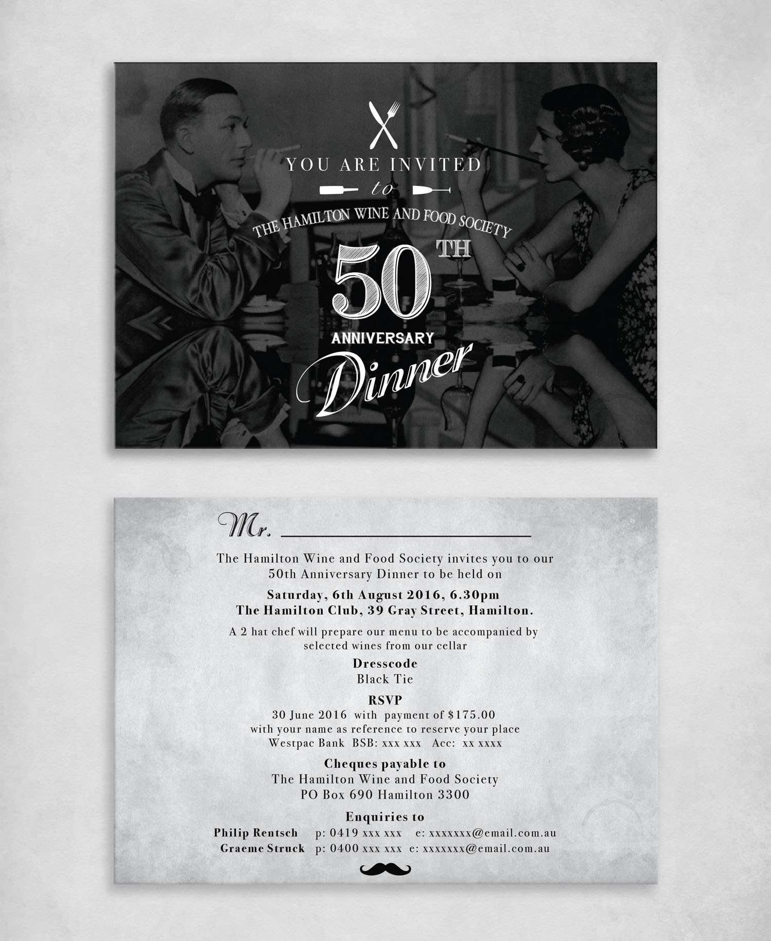 Front and back invitation